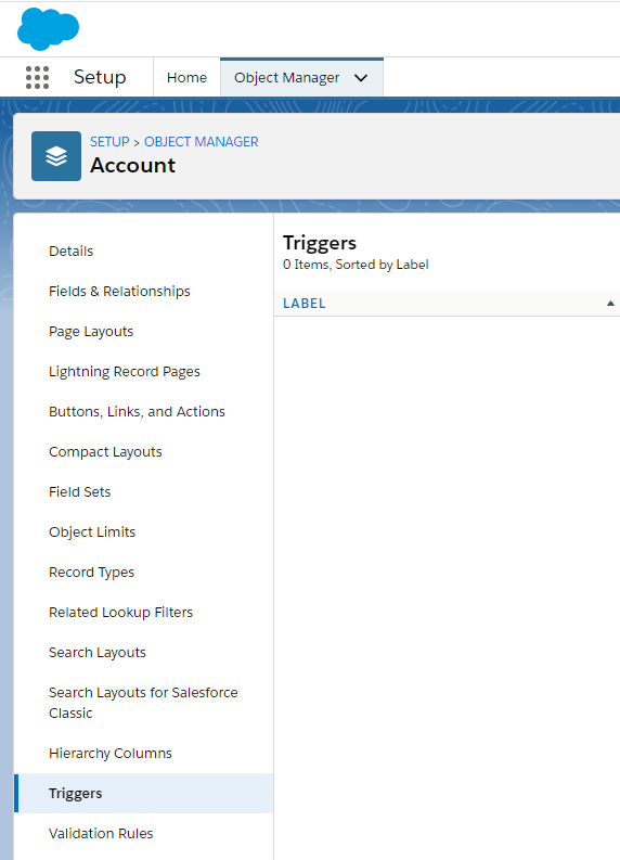 Object manager triggers for Account
