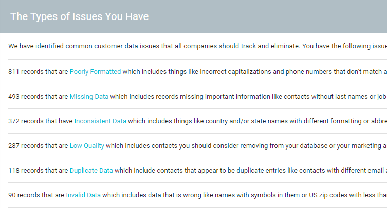 customer data health issues