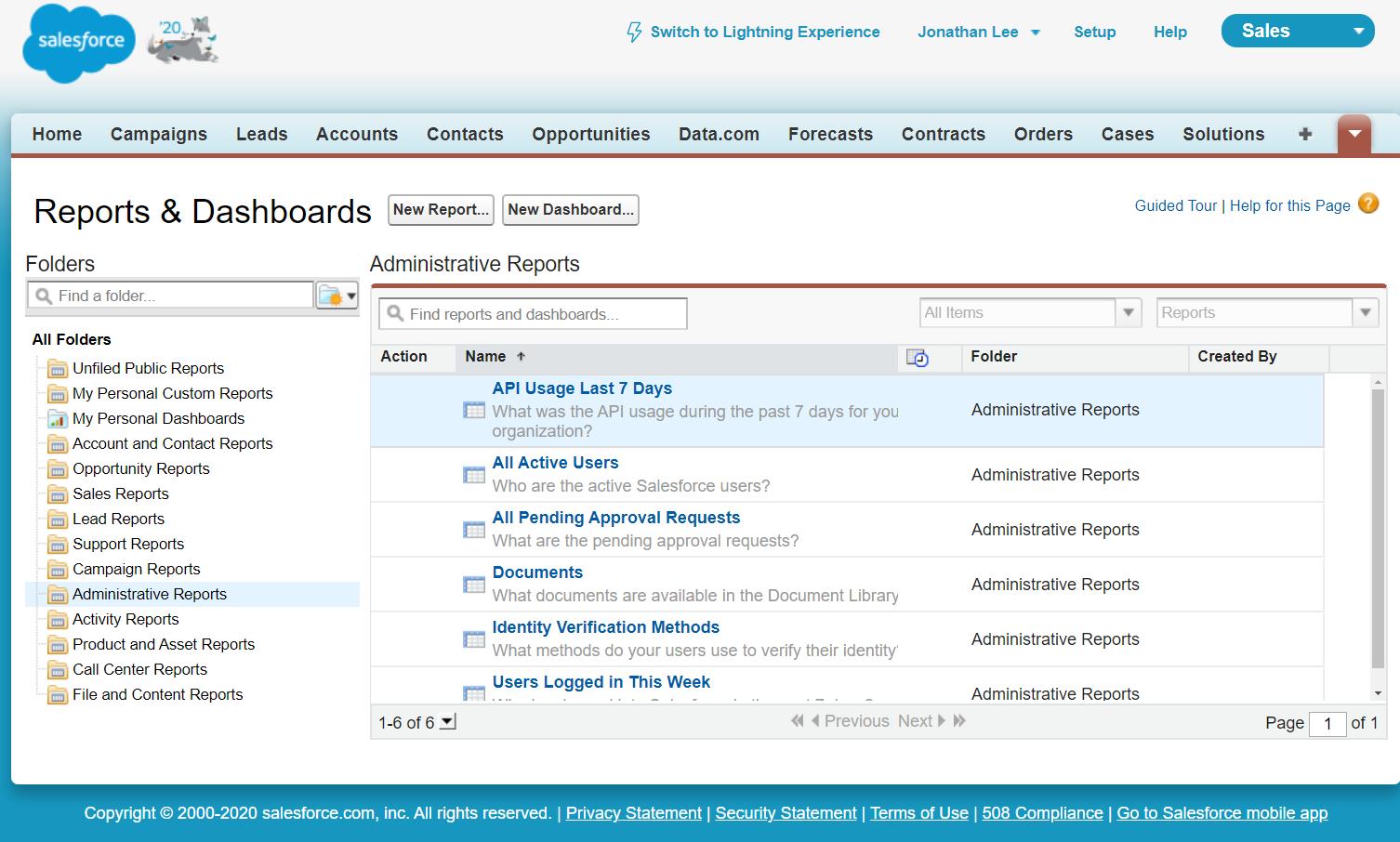 salesforce api usage report last 7 days