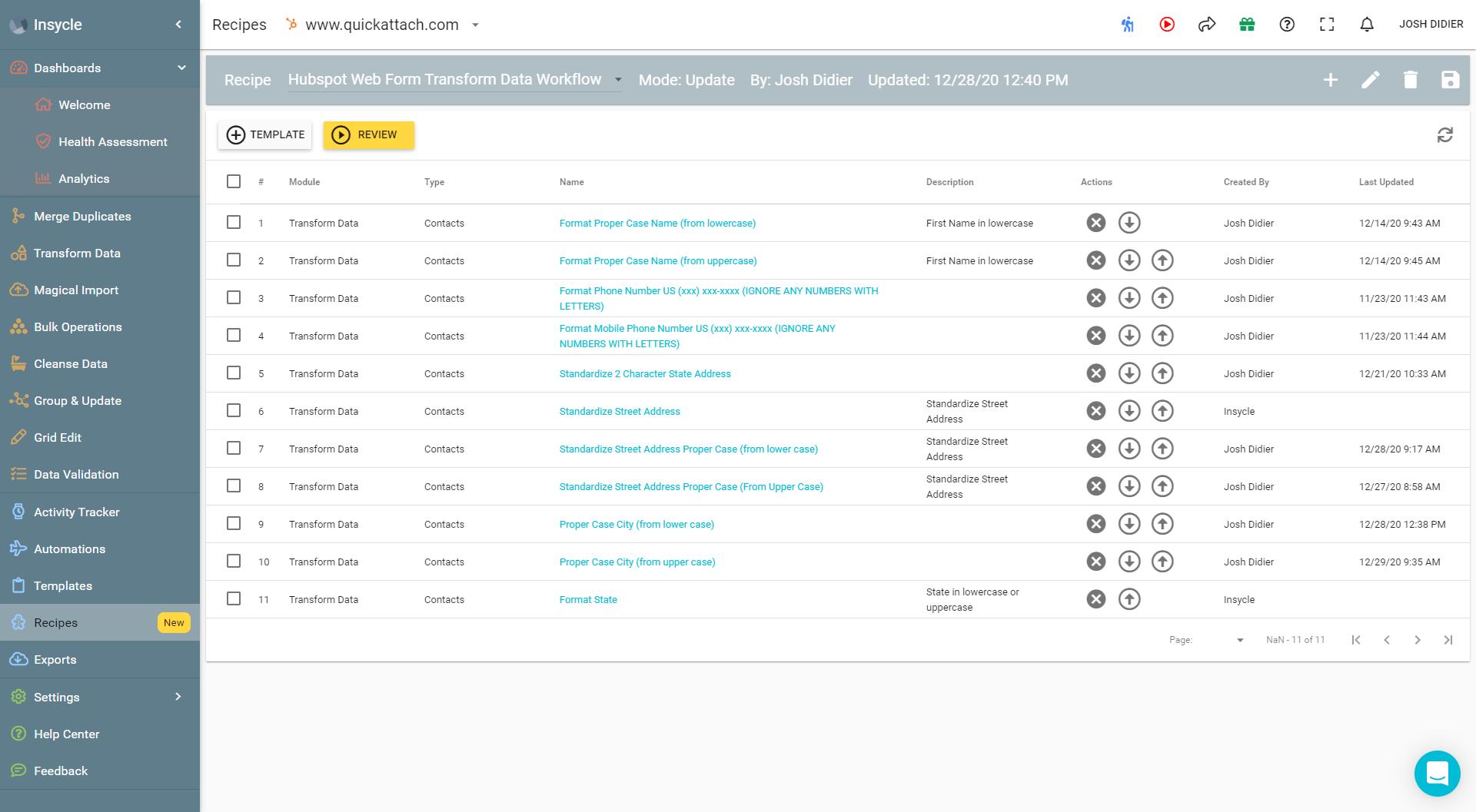 Quick Attach Recipe for HubSpot Workflow